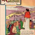 """Le journal """"Le Chœur"""" est un mensuel destiné à l'instruction des """"enfants de chœur"""".  Cette couverture du n° 164 (15 octobre 1961) annonce une biographie de saint Denis.  Le titre du journal a également été dessiné par Pierre."""