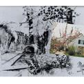 La Porte de Bourgogne et les bords du Loing à Moret (plume et lavis) ainsi que la nouvelle maison