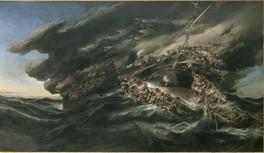 """Incendie du steamer """"Austria"""", Eugène Isabey, 1858"""