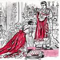 """Le journal """"Terre des Jeunes"""", publié par la Ligue de l'enseignement, traite également du sujet. Pierre reprend le thème du sacre sous un angle de vue décalé par rapport au tableau de David qui lui sert de modèle."""