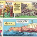 """C'est encore le cas pour raconter l'expédition du viking Leif Erikson qui atteint le Groenland, baptisé ainsi """"terre verte"""" et jusqu'alors inconnu des Occidentaux. Le bourg de Brattahlid est ici reconstitué d'après les premières fouilles archéologiques réalisées sur le site."""