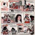 Pierre Brochard traite décors, costumes et personnages avec un grand souci de véracité. La scène se situe ici au début du règne de Louis XIV : le roi est jeune, les costumes sont caractéristiques des années 1660 et le château de Versailles en arrière-plan n'est encore qu'un rendez-vous de chasse.