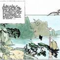 Pour cet album, Pierre n'a guère de peine à s'imprégner d'une culture dans laquelle le dessin joue également un très grand rôle. Au fil des pages, son trait s'épure sous l'inspiration des maîtres du Shanshui.