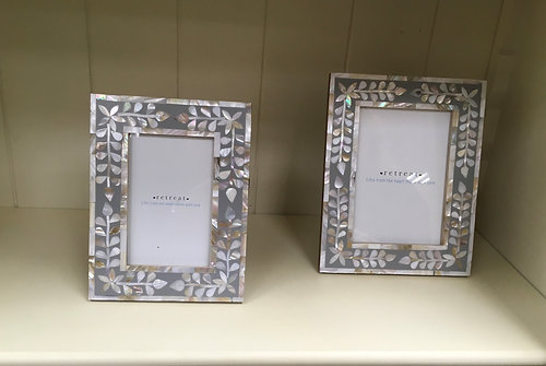 Pale grey mother of pearl inlay photo frame