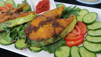 Pan fried mackerel fish