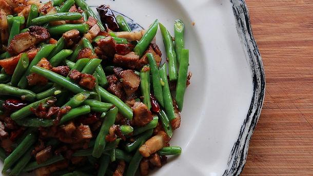 Roast Pork Stir-Fry with Green Beans
