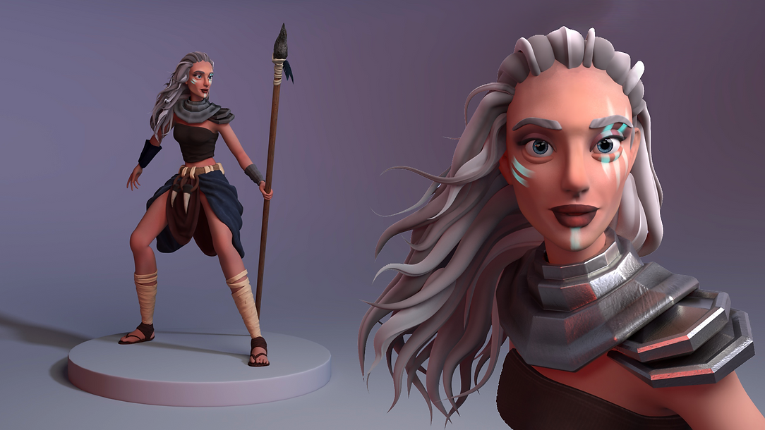 Woman Warrior Portrait and Full Body