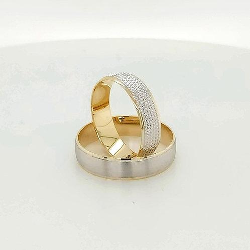 Altın Alyans Düz Model Orta Beyaz