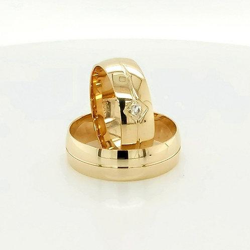 Altın Alyans Düz Model Orta Tek Kanal