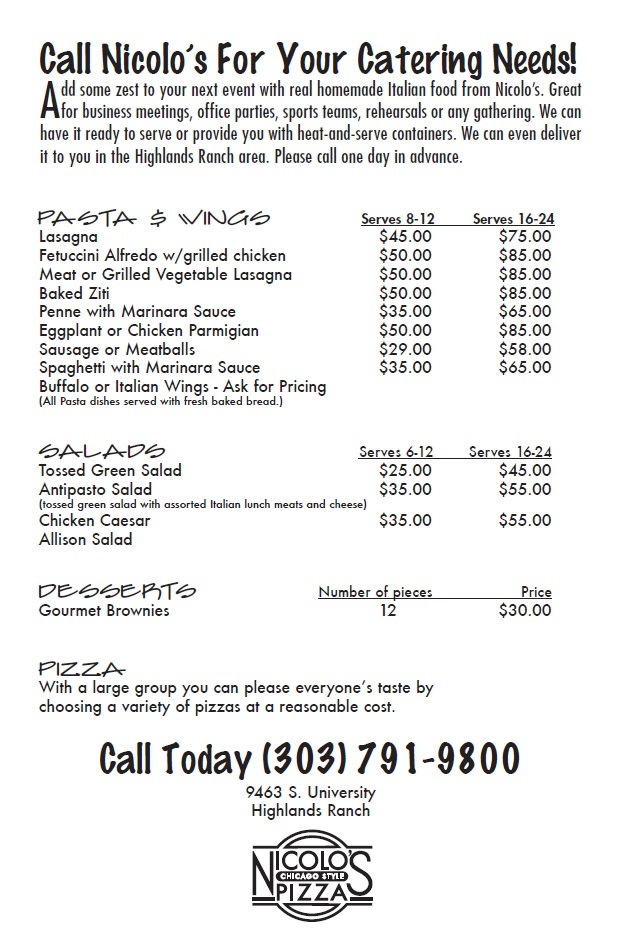 Nicolo's Pizza Highlands Ranch Catering Menu