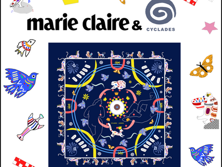 Cyclades & Marie Claire UK : Art on luxurious silk scarves