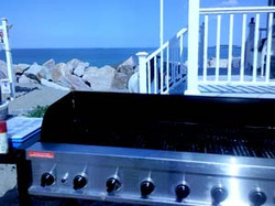 Setting up grill at Beach Party