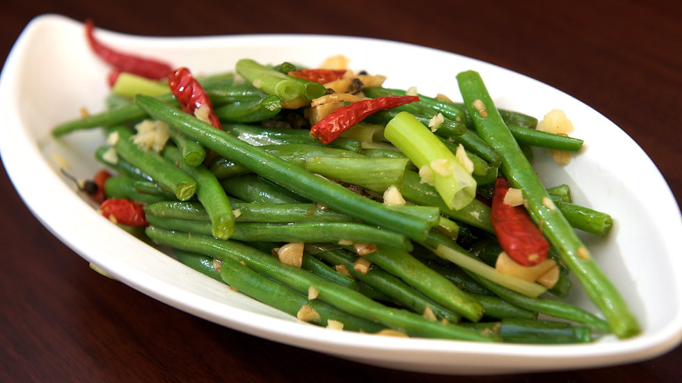 Tender green beans and chilli (chilled)