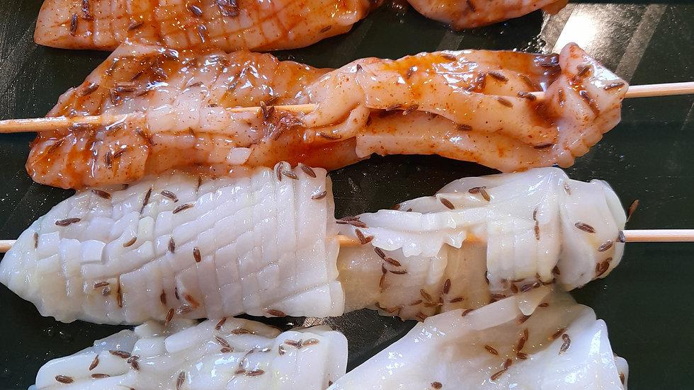 Barbecue squid skewers