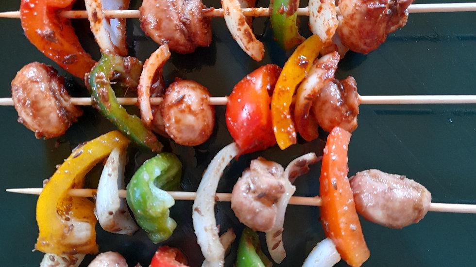 Barbecue vegetable skewers