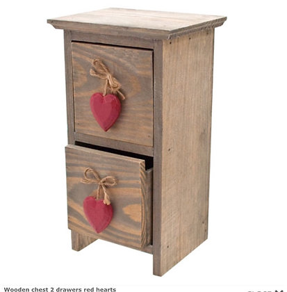 Wooden chest 2 drawers red hearts