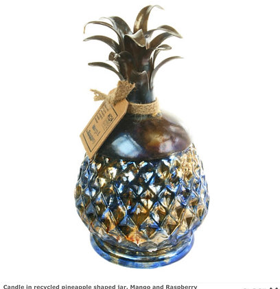 Candle in recycled pineapple shaped jar, Mango and Raspberry