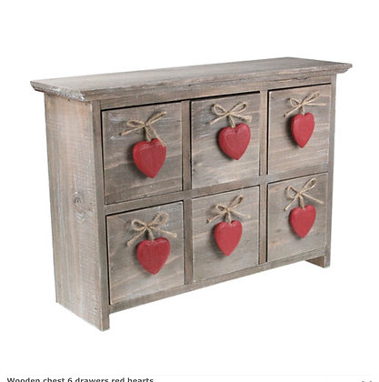 Wooden chest 6 drawers red hearts