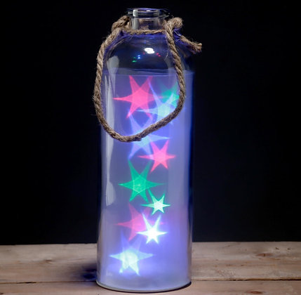 Tall Glass Jar with Star Lights
