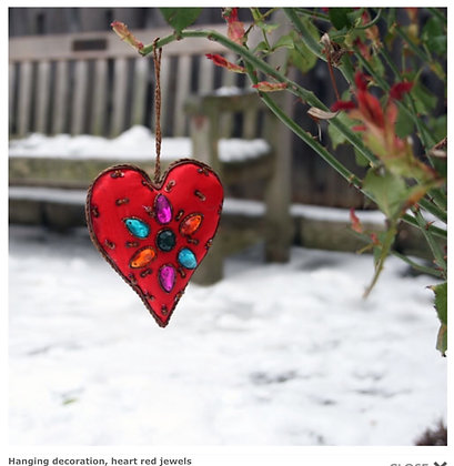 Hanging decoration, heart red jewels