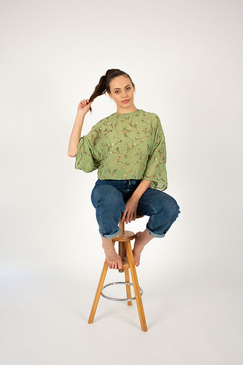 Green garden blouse