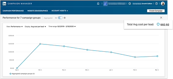 Linkedin Campaign Manager screenshot with CPL decrease