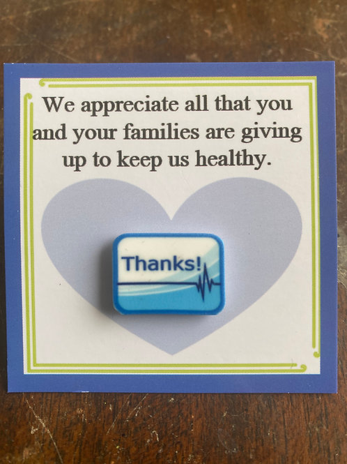 Medical BlueThank You Card (2.5 x 2.5) and Pin