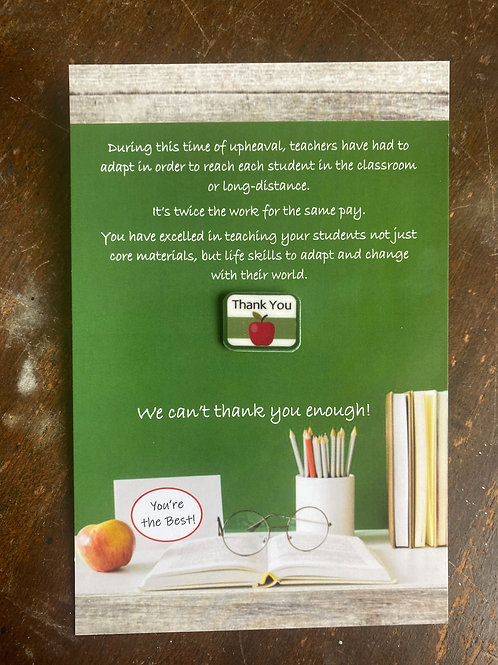Teacher Thank You card and Pin