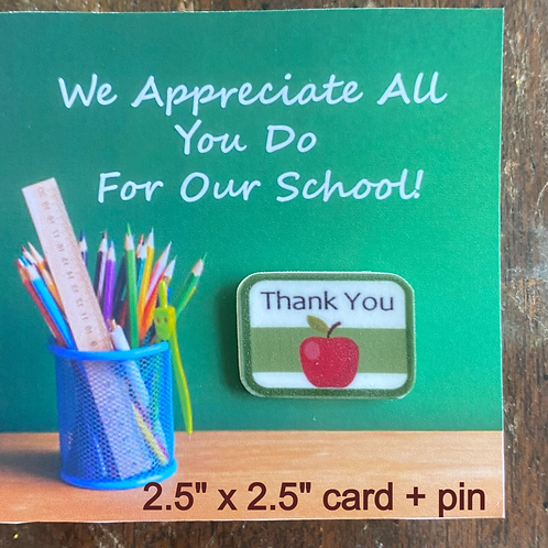 Teacher or Faculty Small Chalkboard Card + Pin