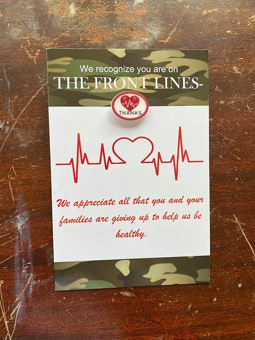 Camo Medical Thank you Card with Heart Pin