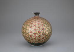 「金緑彩幾何紋花瓶」