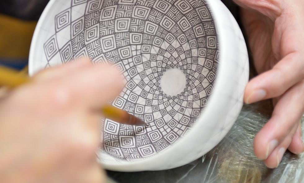 菱繋紋抹茶碗