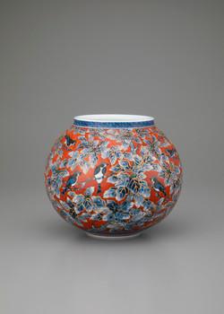柏葉小禽図花瓶