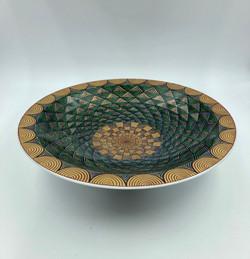 「金緑彩市松鱗紋皿」
