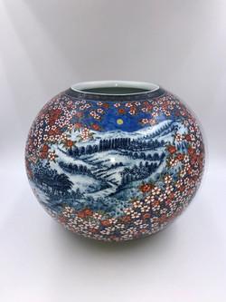 「月に桜図花瓶」