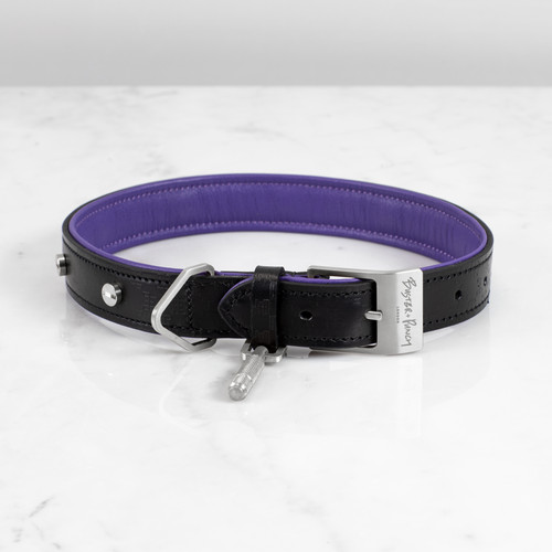 DOG COLLAR / BLACK / PURPLE / STEEL