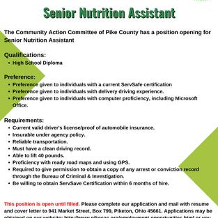 CAC Senior Nutrition Assistant