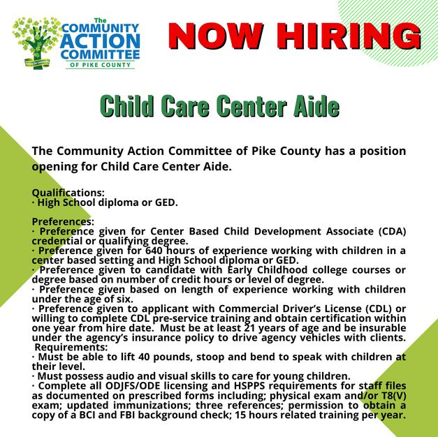 Child Care Center Aide