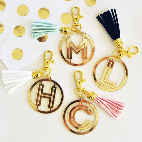 Gold Monogram Acrylic Keychain