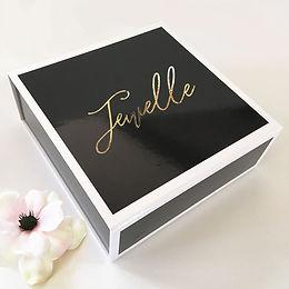 Black Gift Box (Gold Text)