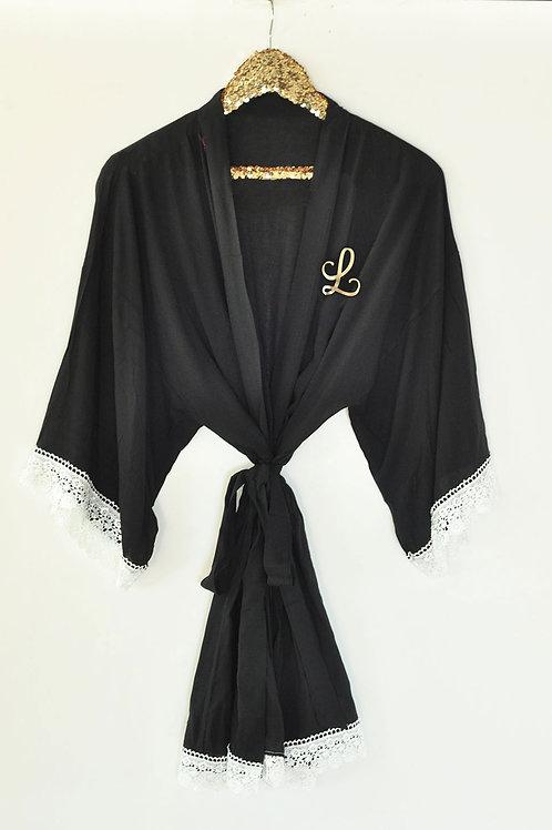Monogram Cotton Lace Robe