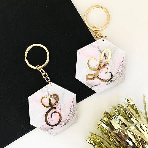 Marble Monogram Keychain