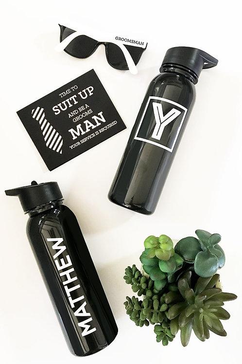 Black Sports Bottle - White Text