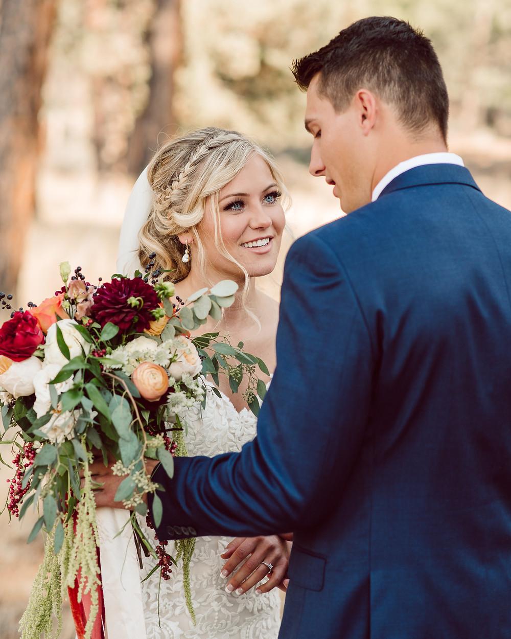 bride and groom, oregon, wedding, first look