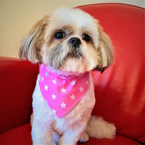 Dog Bandana Pink with White Stars by Woof Stuff Ireland