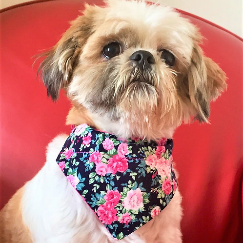 Dog Bandana Navy and Pink Floral Chabby Chique by Woof Stuff Ireland
