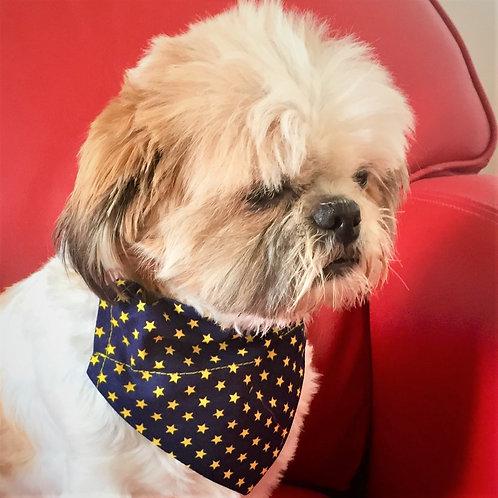 Dog Bandana Navy with Bright Yellow Stars by Woof Stuff Ireland