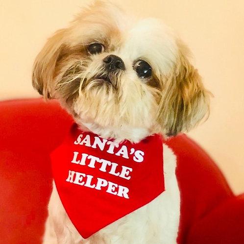 Santa's Little Helper Christmas Dog Bandana