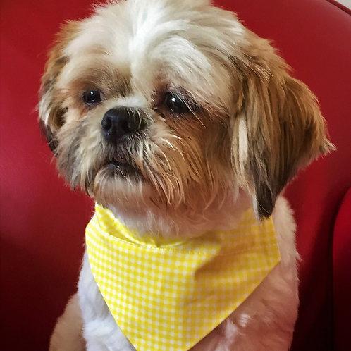 Dog Bandana Yellow and White Gingham by Woof Stuff Ireland