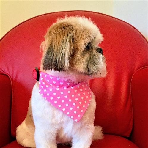 Dog Bandana Pink with White Love Hearts  By Woof Stuff Ireland